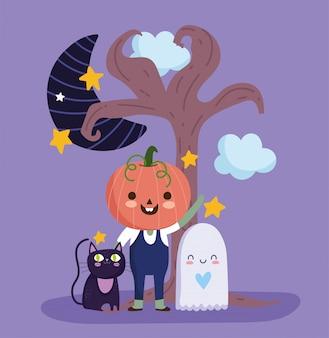 Счастливого хэллоуина, мальчик с костюмом тыквы призрак кошка луна ночь трюк или угощение вечеринка празднование векторная иллюстрация