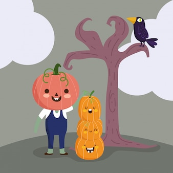 Happy halloween, boy with pumpkin costume tree raven trick or treat party celebration illustration