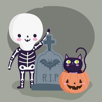 Happy halloween, boy with skeleton costume tombstone pumpkin and cat trick or treat party celebration illustration