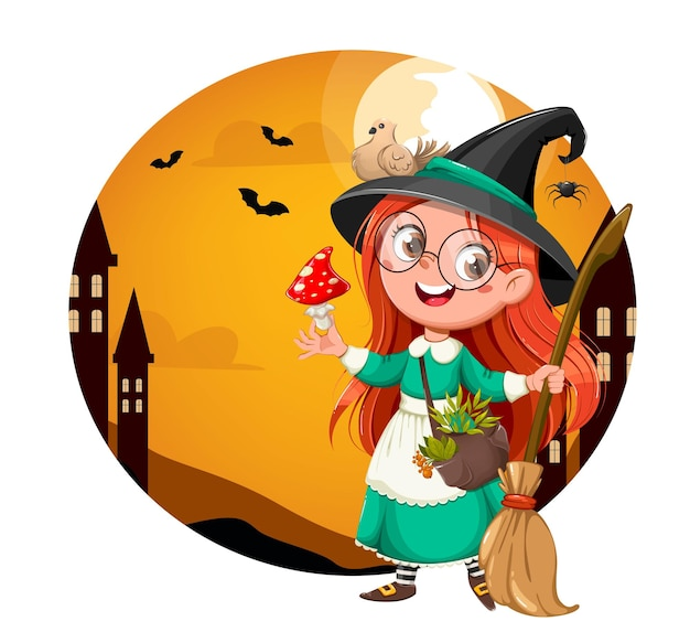 Happy halloween bright greeting card. cute girl witch. beautiful little witch cartoon character. stock vector illustration