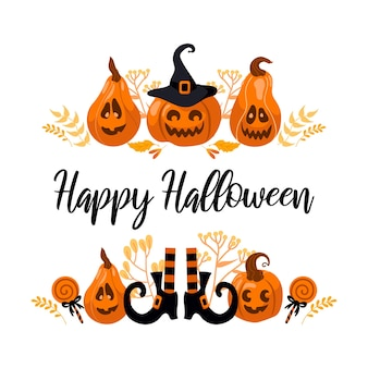 Happy halloween bright vector illustration. pumpkin jack-o-lantern, witch hat, striped stockings, lollipop. for stickers, postcards, banners, flyer. yellow-orange autumn colors.