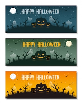 Happy halloween business banner template set