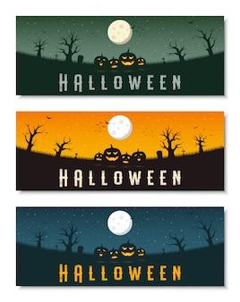 Happy halloween business banner template set