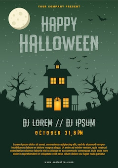 Happy halloween business flyer design template, illustration