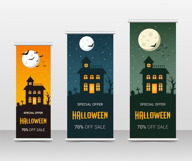 Happy halloween business roll up template set, illustration