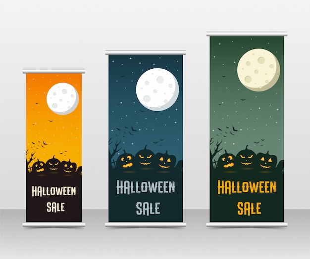 Happy halloween business roll up template set