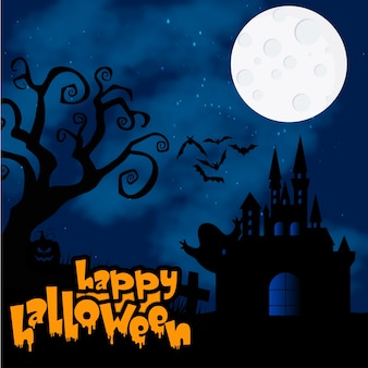 Happy halloween calligraphy design background
