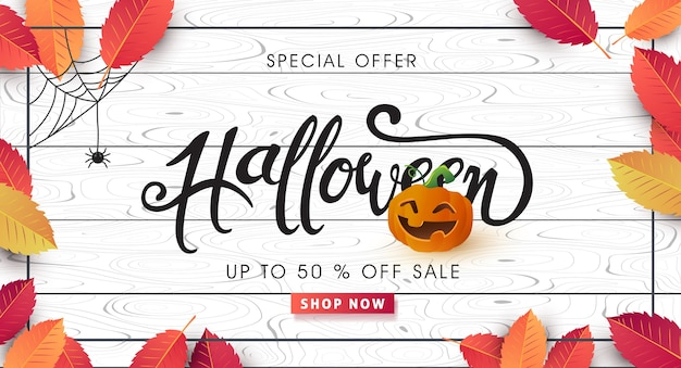 Happy halloween calligraphy for sale banner layout.