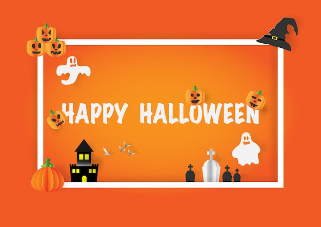 Happy halloween calligraphy with paper banner party invitation.