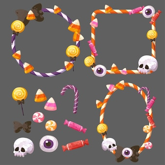 Happy halloween candy frame or party invitation