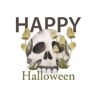 Happy halloween card background with mushrooms and scull