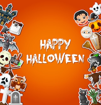 Happy halloween card celebrations and character stickers