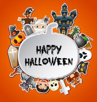 Happy halloween card celebrations pumpkins silhouette