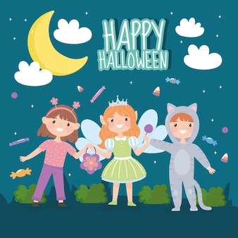 Happy halloween card, kids with costumes