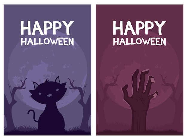 Happy halloween card letterings and cat with hand death vector illustration design