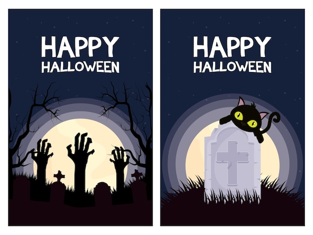 Happy halloween card letterings with cat and hands deaths scenes vector illustration design