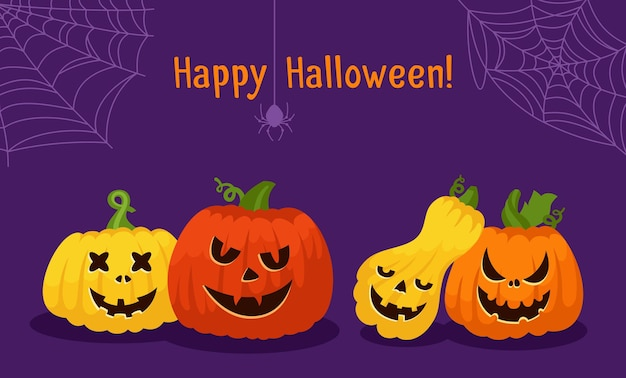 Happy halloween card pumpkin face cobweb and spider pumpkins scared and smiley faces creepy grin