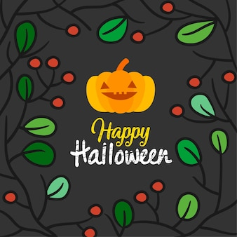 Happy halloween card vector illustration.