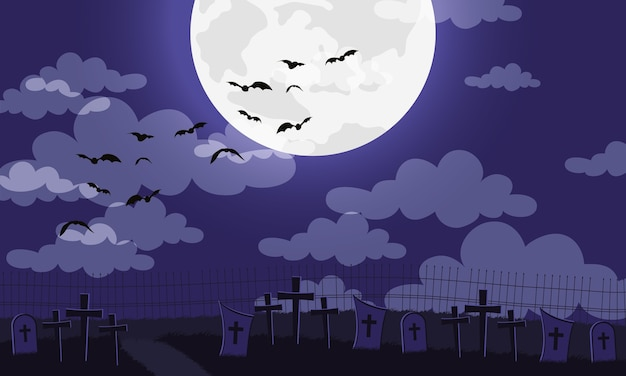 Happy halloween card with bats flying in cemetery vector illustration design