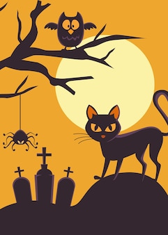 검은 고양이와 올빼미 묘지에 해피 할로윈 카드
