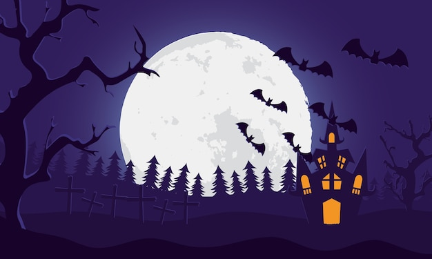 Happy halloween card with castle and bats flying in cemetery scene vector illustration design