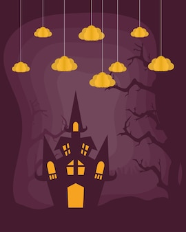 Happy halloween card with castle and clouds hanging vector illustration design