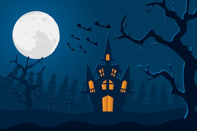 Happy halloween card with castle and moon in cemetery scene vector illustration design