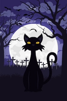 Happy halloween card with cat in cemetery scene vector illustration design