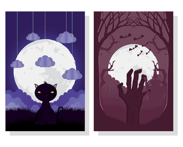 Happy halloween card with cat and death hand scenes vector illustration design