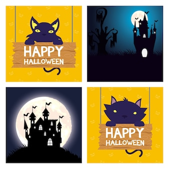 Happy halloween card with cats and haunted castles scenes vector illustration design