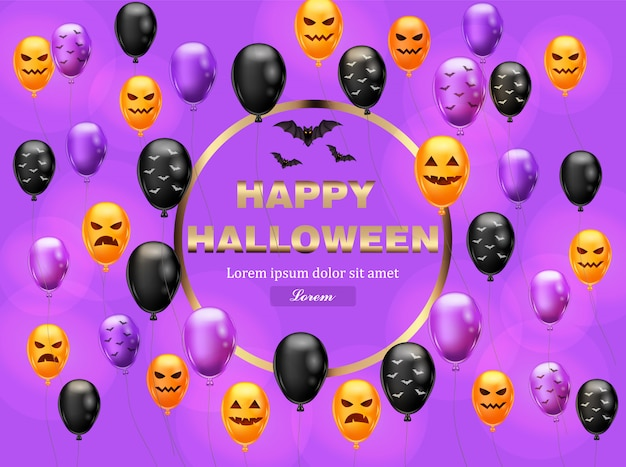 Happy halloween card with colorful balloons