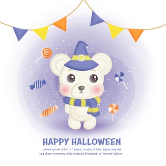 Happy halloween card with cute bear and candy in water color style.