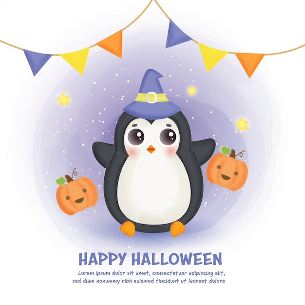 Happy halloween card with cute penguin in water color style.