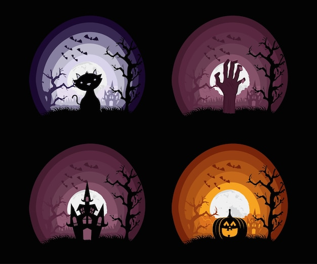 Happy halloween card with four set scenes vector illustration design
