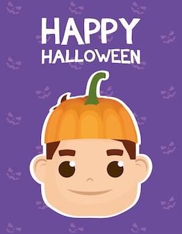 Счастливая карта хэллоуина с надписями и мальчик, одетый в дизайн векторной иллюстрации тыквы