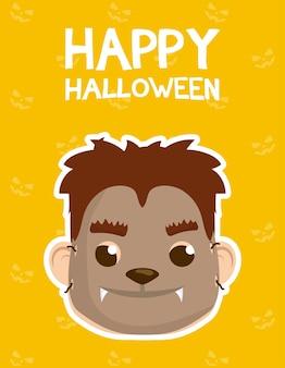 Счастливая открытка на хэллоуин с надписями и мальчиком, одетым в дизайн векторной иллюстрации оборотня