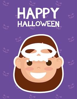 Счастливая открытка на хэллоуин с надписями и девушкой, одетой в дизайн векторной иллюстрации катрины