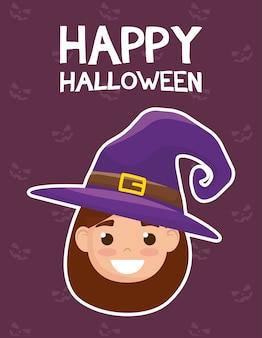 Счастливая открытка на хэллоуин с надписями и девушкой, одетой в дизайн векторной иллюстрации ведьмы