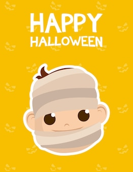 Happy halloween card with lettering and boy costumed of mummy vector illustration design