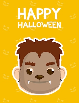 Happy halloween card with lettering and boy costumed of werewolf vector illustration design