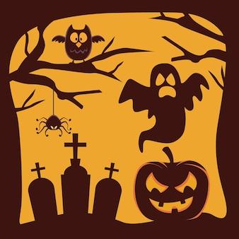호박과 유령 묘지에 떠있는 해피 할로윈 카드
