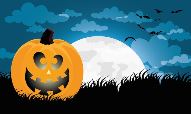 Happy halloween card with pumpkin and moon scene vector illustration design