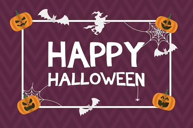 Happy halloween card with pumpkins and bats flying square frame vector illustration design