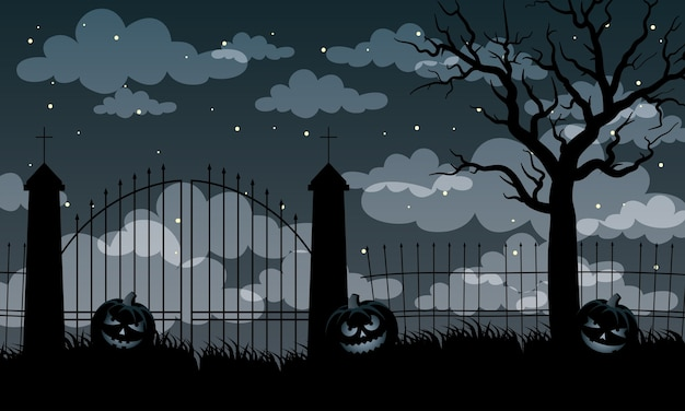 Happy halloween card with pumpkins and gates scene vector illustration design