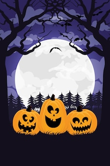 Happy halloween card with pumpkins and moon scene vector illustration design