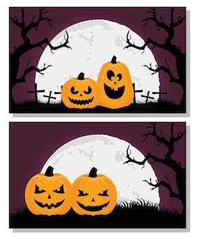 Happy halloween card with pumpkins and trees scenes vector illustration design