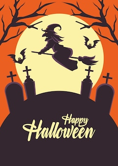 Happy halloween card with witch flying in broom over cemetery