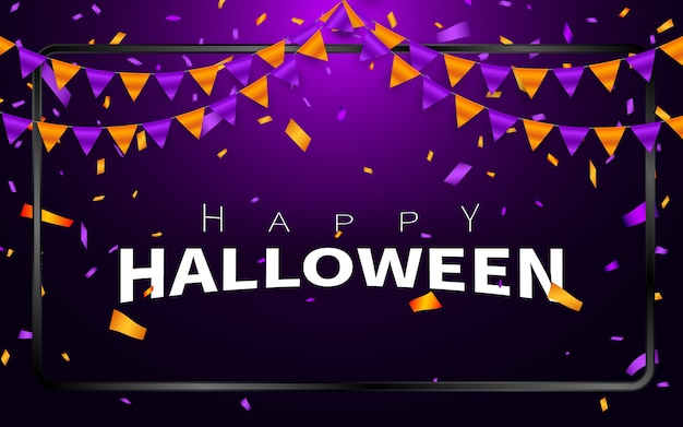 Happy halloween carnival background. orange purple flags garland, confetti concept for party . celebration