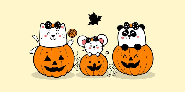 Happy halloween cartoon cute cat rat and panda in pumpkins.