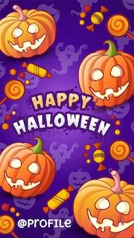 Happy halloween. cartoon funny pumpkins lanterns, candies, ghosts silhouettes. vector illustration
